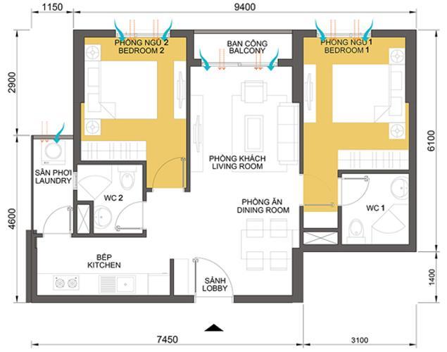 Mặt bằng căn hộ 2 phòng ngủ Căn hộ Masteri Thảo Điền tầng thấp T2 view thoáng về khu Thảo Điền