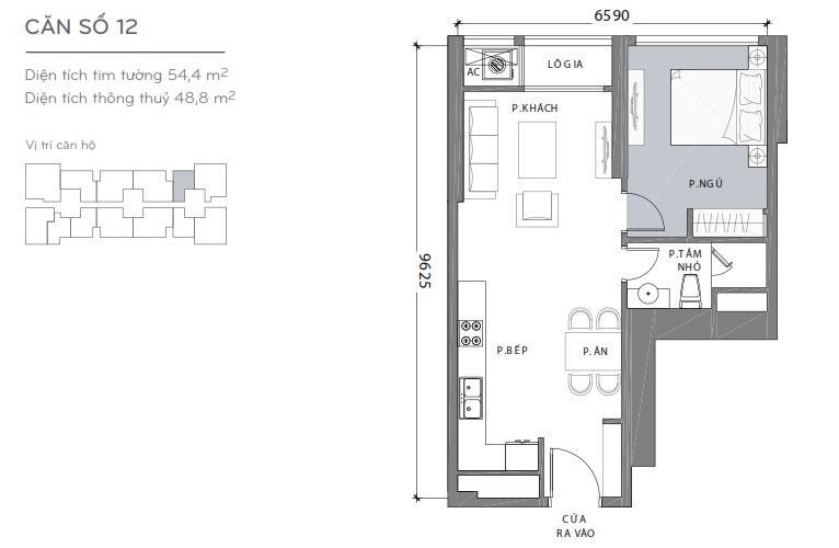 Mặt bằng căn hộ 1 phòng ngủ Căn hộ Vinhomes Central Park 1 phòng ngủ tầng cao L3 hướng Đông Bắc