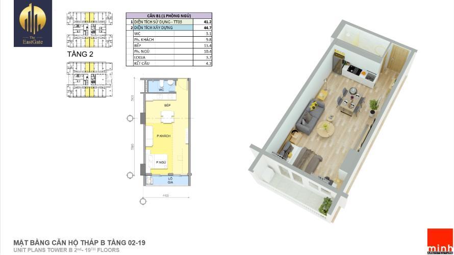 Căn hộ the EastGate tầng 11 cửa chính hướng Đông nội thất cơ bản