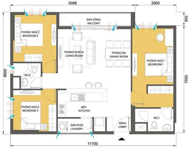 Mặt bằng căn hộ 3 phòng ngủ Căn hộ Masteri Thảo Điền 3 phòng ngủ tầng cao T4 view sông