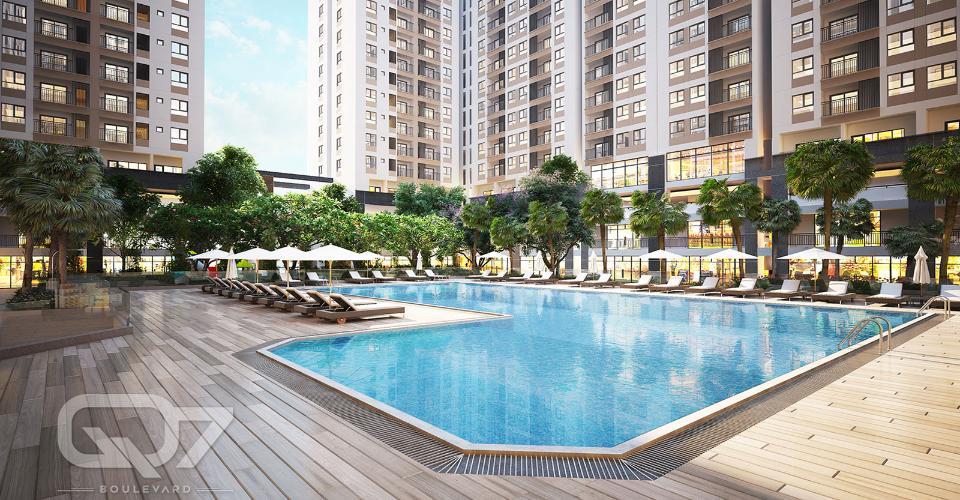 Hồ bơi dự án Q7 Boulevard Bán căn hộ Q7 Boulevard  3 phòng ngủ, diện tích 75,5m2, ban công hướng Nam.