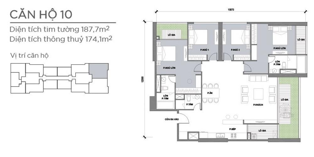 Mặt bằng căn hộ 4 phòng ngủ Căn hộ Vinhomes Central Park 4 phòng ngủ tầng cao P2 view sông