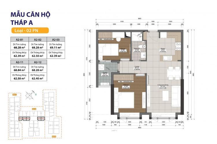 Căn hộ 2 phòng ngủ Căn hộ The Gold View 2 phòng ngủ tầng cao A2 đầy đủ nội thất
