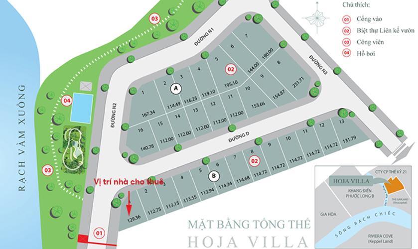Mặt bằng khu nhà phố Hoja Villa Quận 9 Nhà phố 3 phòng ngủ khu Hoja Villa, Phước Long B, Quận 9