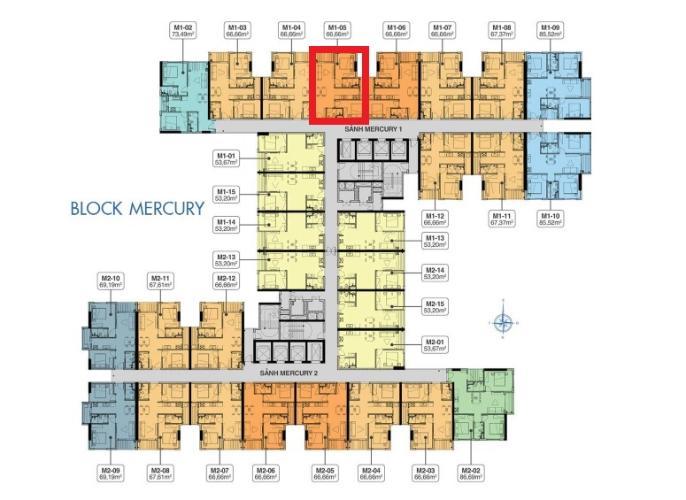 Layout M1.29.05 Bán căn hộ Q7 Saigon Riverside, 2 phòng ngủ, diện tích 66,66m2, chưa bàn giao