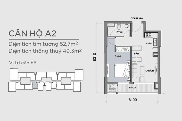 Mặt bằng căn hộ 1 phòng ngủ Căn hộ Vinhomes Central Park tầng cao P6, 1PN nội thất đầy đủ