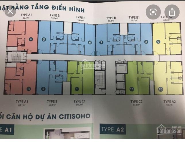 Sơ đồ căn hộ chung chơ Citisoho Bán căn hộ  2PN, 2WC chung cư Citisoho , View Hồ Bơi, tằng 10 thoáng mát..
