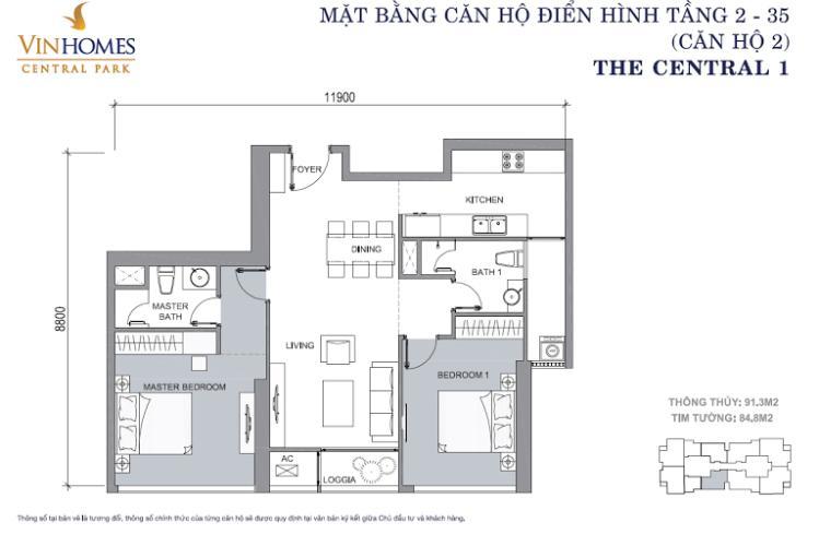 Mặt bằng căn hộ 2 phòng ngủ căn số 2 84,8m2 Căn hộ Vinhomes Central Park tầng cao tháp C2 view đẹp