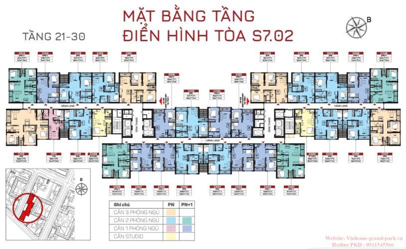 Dự án Vinhomes Grand Park Bán căn hộ tầng trung - Vinhomes Grand Park, 1 phòng ngủ, diện tích sàn 46m2.