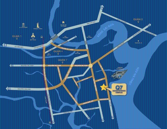 Vị trí căn hộ Q7 Saigon Riverside Bán căn hộ Q7 Saigon Riverside, 1 phòng ngủ, diện tích 53.2m2, chưa bàn giao