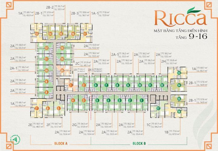 Layout tầng căn hộ Ricca, Quận 9 Căn hộ Ricca hướng cửa Tây Bắc, bàn giao nội thất cơ bản.