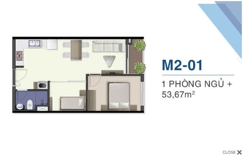 Căn hộ Q7 Saigon Riverside thuộc tầng thấp, diện tích 53.67m2