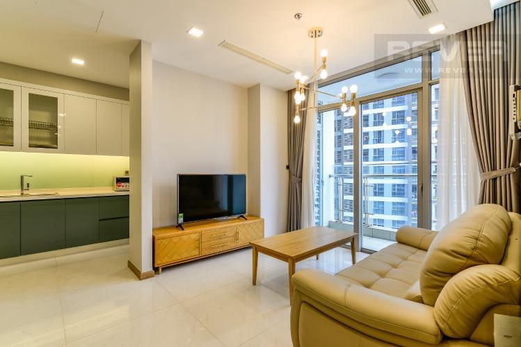 Phòng Khách Cho thuê căn hộ Vinhomes Central Park tầng cao 3PN nội thất đầy đủ, view sông