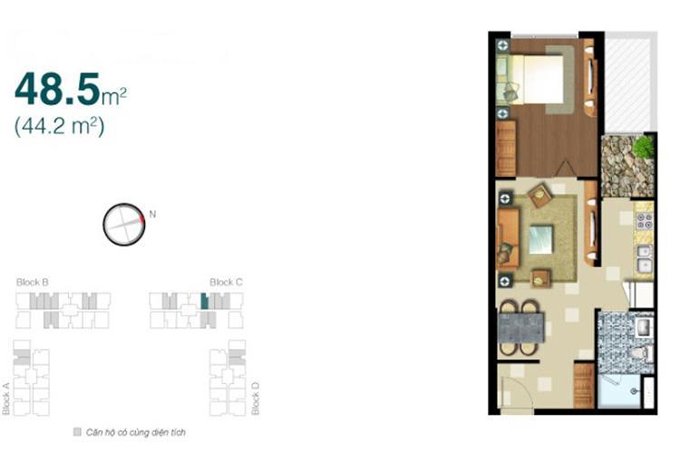 Mặt bằng căn hộ 1 phòng ngủ Căn hộ Lexington Residence 1 phòng ngủ, tầng thấp LC, nội thất đầy đủ