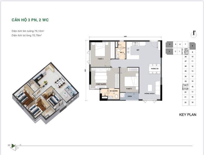 Layout Picity High Park, Quận 12 Căn hộ Picity High Park tầng trung, 3 phòng ngủ, view thoáng mát