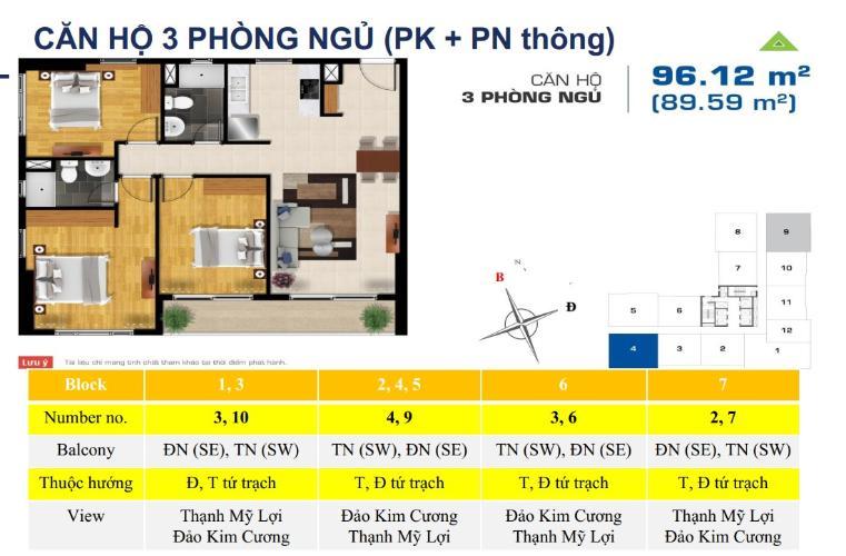 Mặt bằng căn hộ The Sun Avenue Bán căn hộ tầng cao The Sun Avenue nội thất đầy đủ, ban công thoáng.