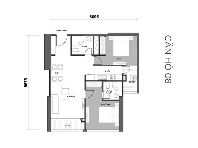 Mặt bằng căn hộ 2 phòng ngủ Officetel Vinhomes Central Park 2 phòng ngủ tầng cao P7 nội thất đầy đủ