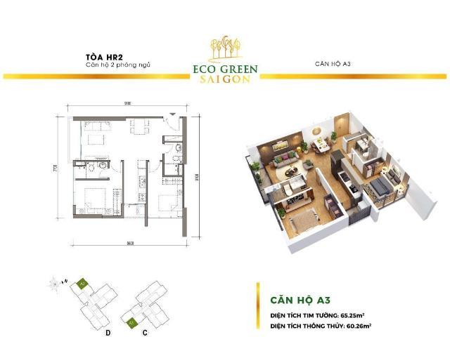 Căn hộ Eco Green Saigon tầng thấp, view sông và thành phố mát mẻ.