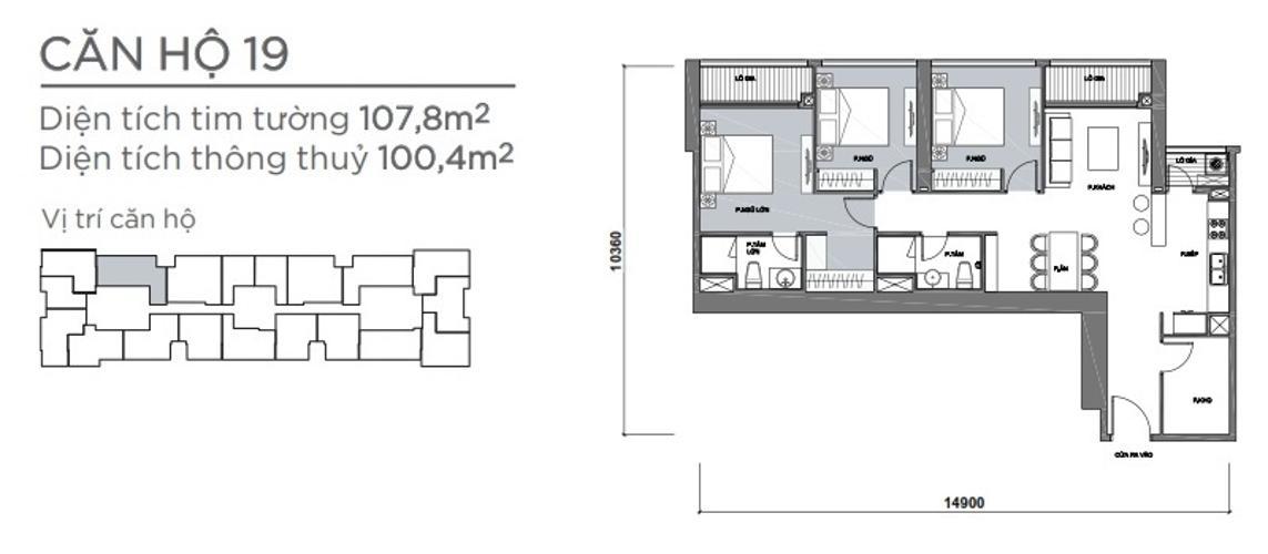 Mặt bằng căn hộ 3 phòng ngủ Căn hộ Vinhomes Central Park 3 phòng ngủ tầng cao P7 view sông
