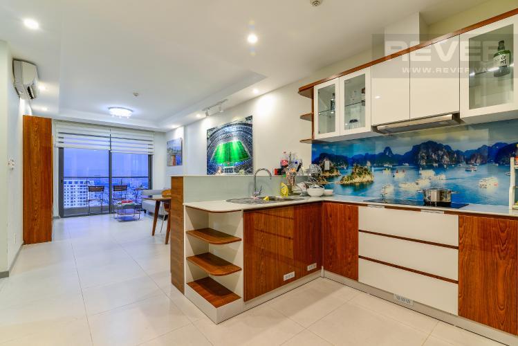 Phòng Khách & Bếp Cho thuê căn hộ The Gold View tầng cao, view đẹp, 2PN đầy đủ nội thất