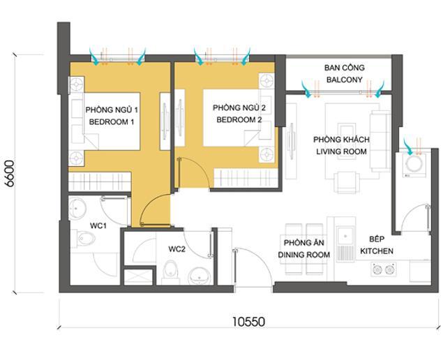 Mặt bằng căn hộ 2 phòng ngủ Căn hộ Masteri Thảo Điền 2 phòng ngủ tấng thấp T1, nội thất đầy đủ