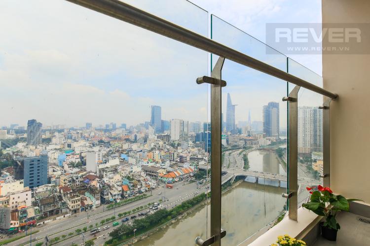 Balcony Cho thuê căn hộ Masteri Millennium tầng cao 2PN đầy đủ nội thất view sông