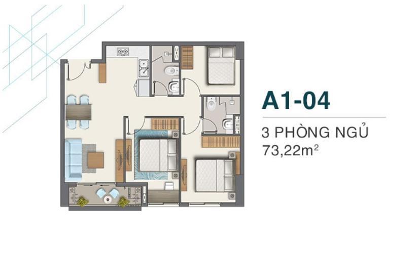 Bán căn hộ Q7 Boulevard tầng trung, 3 phòng ngủ, diện tích 73m2, chưa bàn giao.