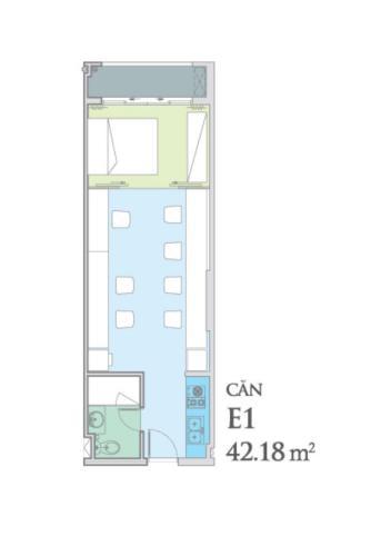 Layout Officetel Sky Center Phổ Quang Căn hộ Officetel Sky Center tầng trung, ban công hướng Bắc.