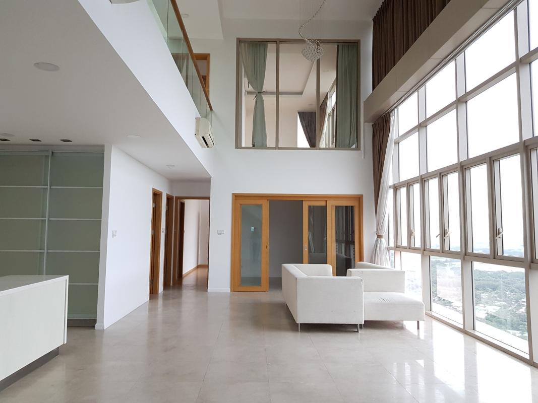Phòng khách Cho thuê Penthouse The Vista An Phú 4PN, tháp T1, thông tầng, nội thất cơ bản, có sân vườn rộng