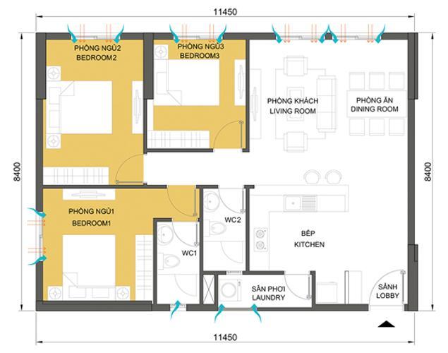 Mặt bằng căn hộ 3 phòng ngủ Căn hộ Masteri Thảo Điền tầng trung hướng Tây tháp T1