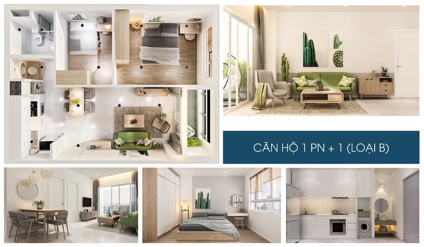 Nhà mẫu căn hộ Charm City Căn hộ Charm City ban công hướng Nam, view tầng cao đón gió mát.