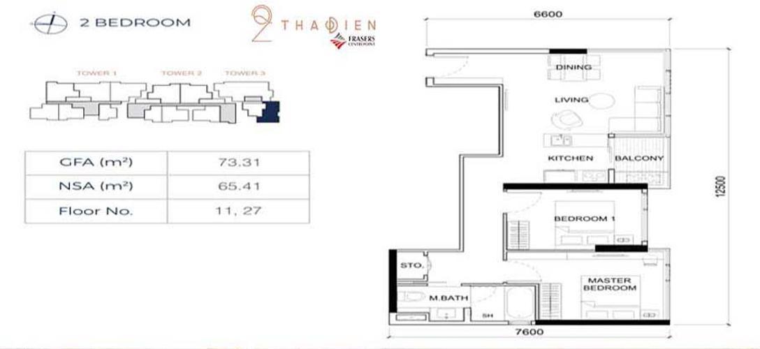Căn hộ Q2 Thảo Điền tầng trung, nội thất cơ bản.