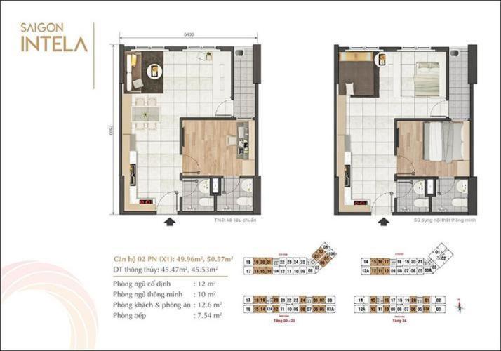 Căn hộ Saigon Intela tầng 15 view thoáng mát, đầy đủ nội thất hiện đại.