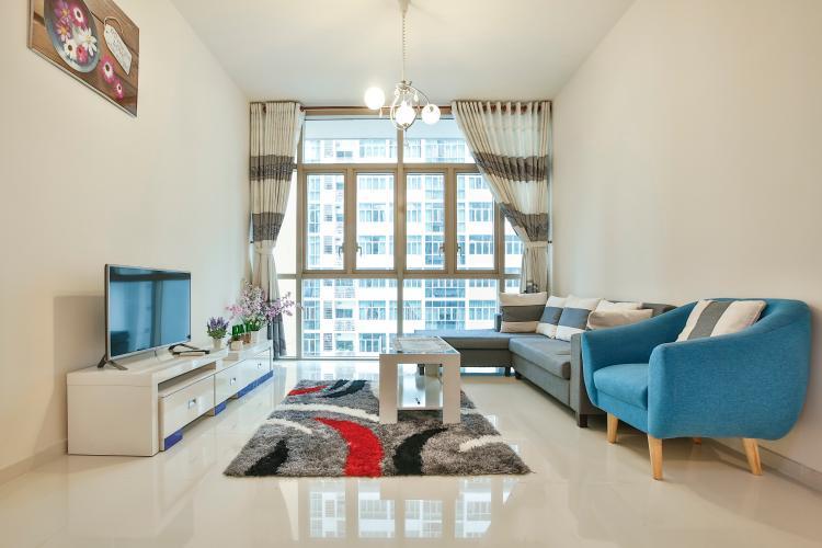 Phòng Khách Căn hộ The Vista 2 phòng ngủ tầng cao tòa T4 view hồ bơi