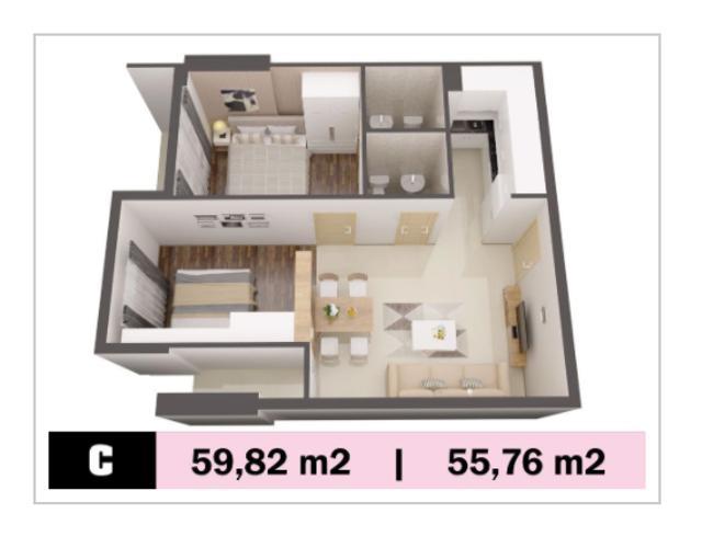 Phối cảnh căn hộ Kingsway Căn hộ Kingsway Tower tầng trung, 2 phòng ngủ, nội thất cơ bản.