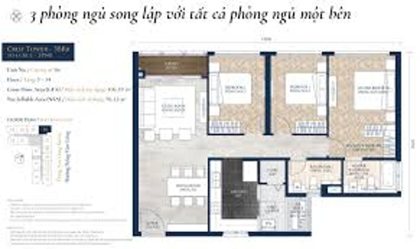images Bán căn hộ Feliz en Vista 3PN, tháp Cruz, diện tích 106m2, đầy đủ nội thất, hướng Đông Nam
