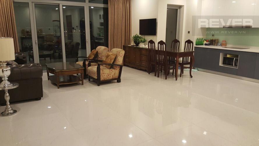 Phòng Khách Bán căn hộ Vinhomes Central Park 4PN, tháp Park 1, nội thất cơ bản, view trực diện sông Sài Gòn