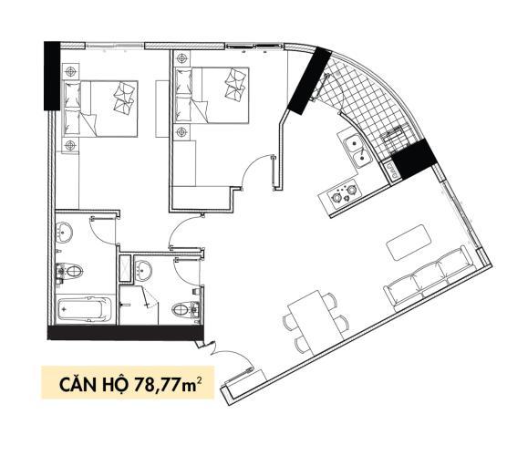 Phối cảnh căn hộ Topaz Elite Căn hộ Topaz Elite tháp Phoenix 2, view thành phố, 2 phòng ngủ.