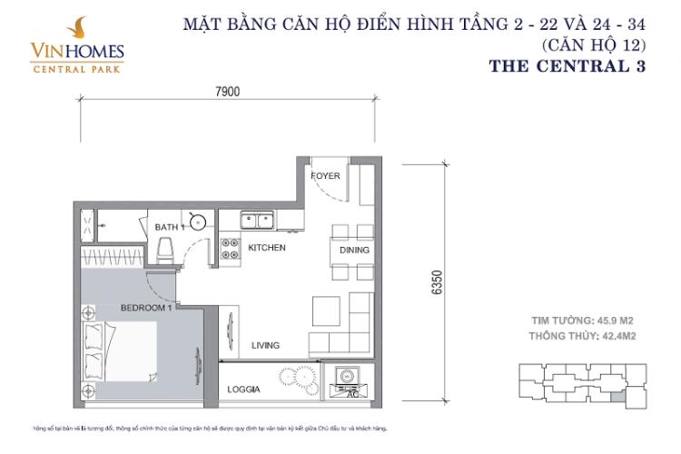 Mặt bằng căn hộ 1 phòng ngủ Officetel Vinhomes Central Park 1 phòng ngủ tầng trung C3 hướng Tây