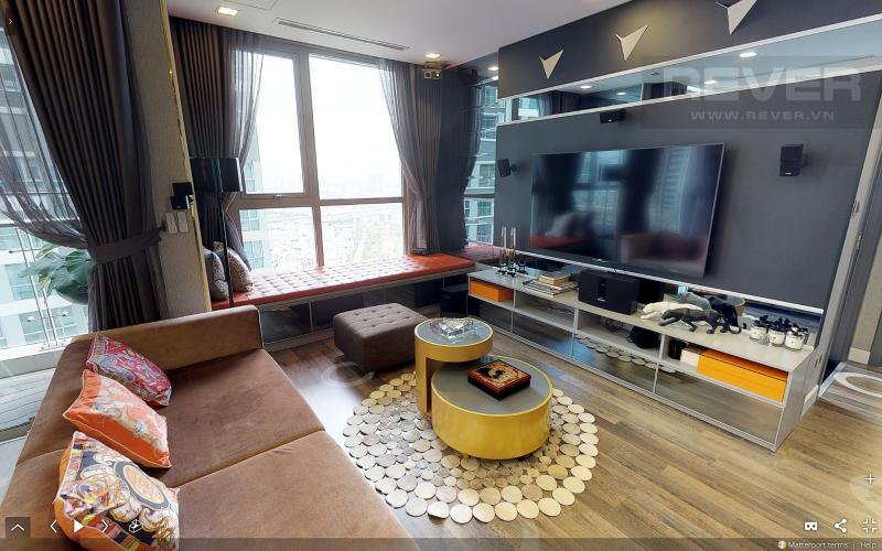 Phòng Khách Bán căn hộ Vinhomes Central Park tầng cao tháp Park 3, 3PN 2WC, đầy đủ nội thất, view sông Sài Gòn