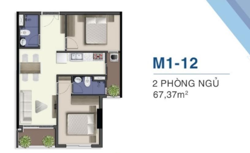 Mặt bằng nội thất M1.25.12 Bán căn hộ Q7 Saigon Riverside, 2 phòng ngủ, diện tích 66,66m2, chưa bàn giao