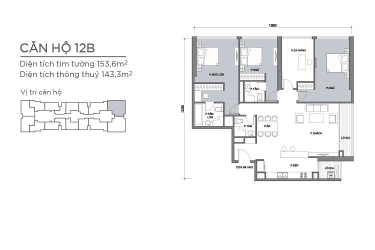 Mặt bằng căn hộ 4 phòng ngủ Căn hộ Vinhomes Central Park 4 phòng ngủ tầng cao P1 view sông