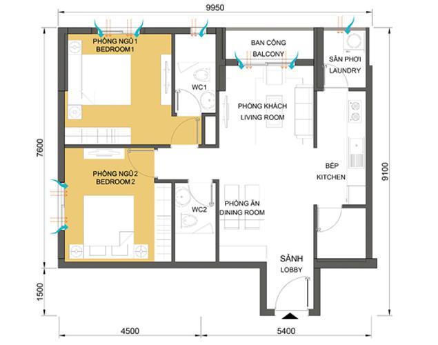 Căn hộ 2 phòng ngủ Căn hộ Masteri Thảo Điền 2 phòng ngủ tầng cao T1 đầy đủ nội thất