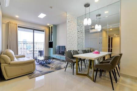 Cho thuê căn hộ Saigon Royal 2PN, tháp A, diện tích 86m2, đầy đủ nội thất, view kênh Bến Nghé và Bitexco
