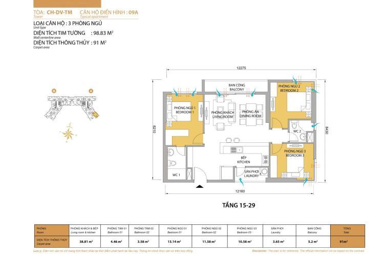 Căn hộ 3 phòng ngủ Căn góc Masteri Thảo Điền 3 phòng ngủ tầng trung tòa T5
