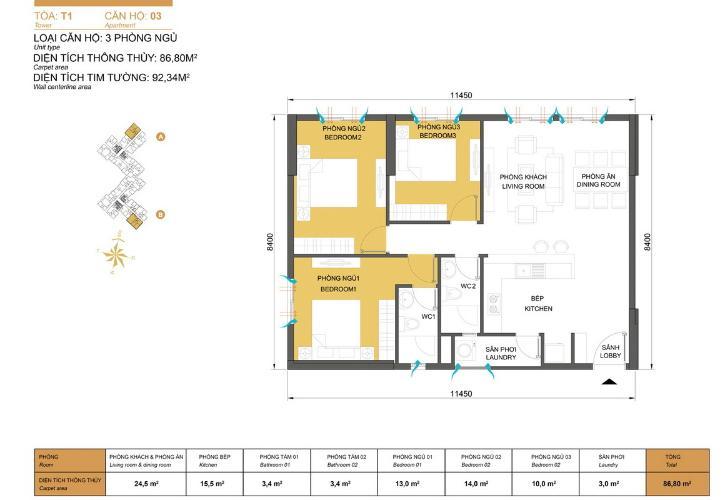 Mặt bằng căn hộ 3 phòng ngủ Căn góc Masteri Thảo Điền 3 phòng ngủ tầng cao T1 nội thất đầy đủ