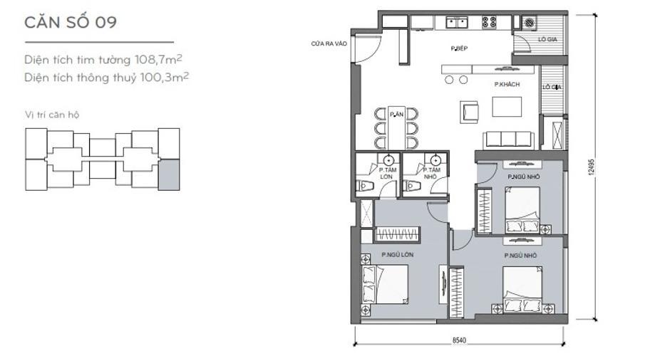Mặt bằng căn hộ 3 phòng ngủ Căn hộ Vinhomes Central Park 3 phòng ngủ tầng trung L5 nội thất đẹp