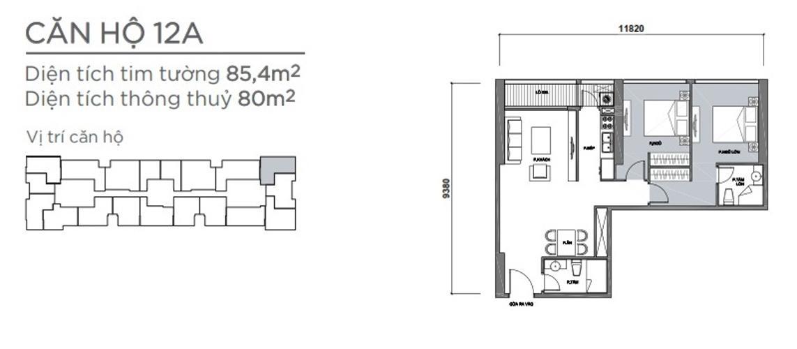 Mặt bằng căn hộ 2 phòng ngủ Căn hộ Vinhomes Central Park 2 phòng ngủ tầng trung P7 hướng Đông Nam