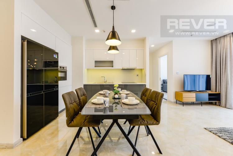 Bàn ăn Cho thuê căn hộ Vinhomes Golden River tầng cao, 2PN đầy đủ nội thất, view sông thoáng đãng