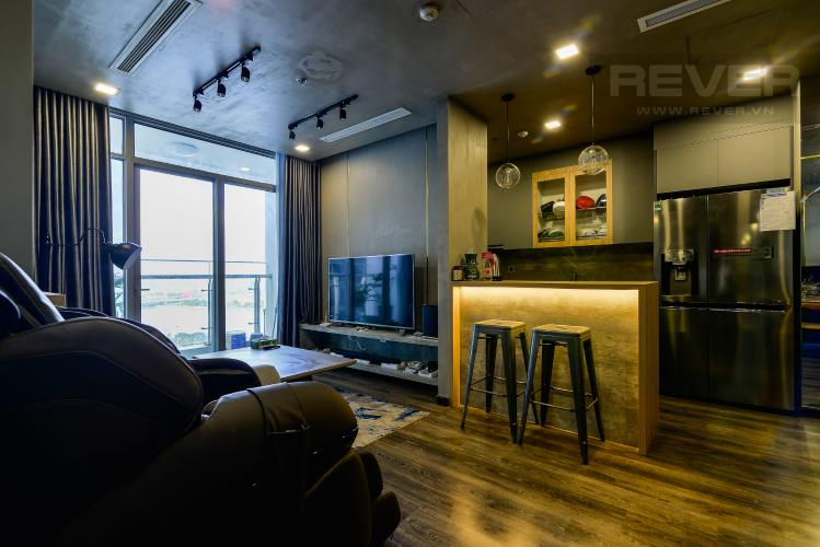 Phòng Khách Căn hộ Vinhomes Central Park 2PN đầy đủ nội thất, view sông Sài Gòn